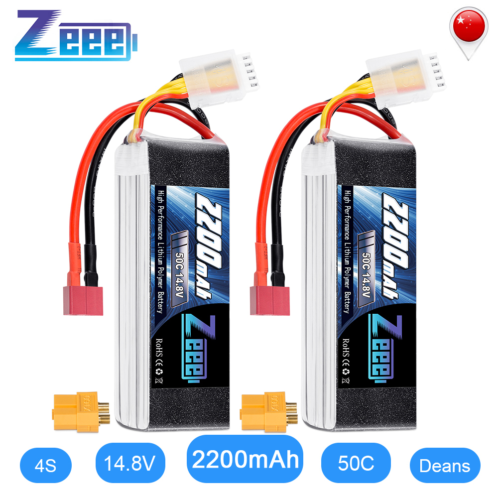 2units Zeee 4S LiPo Battery <font><b>14.8V</b></font> <font><b>2200mAh</b></font> 50C with Deans Plug XT60 Connector For RC Car Helicopter Drone Boat Airplane image