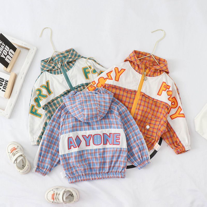 Childrenswear 2020 Korean-style Spring And Autumn Children Cloak Printed Lettered Plaid Singe Jacket Tops