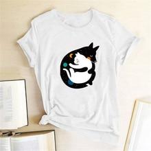 Dog Hugging Cat Print T-shirts Women Clothes Summer T Shirts Women Casual Cute Shirts Graphic