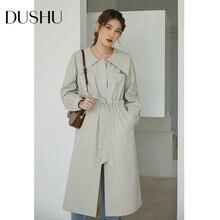 Женское двубортное пальто Тренч dushu повседневное длинное с