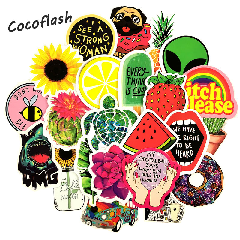 50 Pcs/lot Ins Style Sunflower Fruit Cartoon Sticker Refrigerator Skateboard Trolley Case Decals Tables Waterproof PVC Sticker