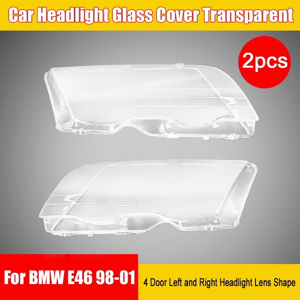 For BMW E46 1998-2001 Car Headlight Glass Cover Transparent Left Right Headlight Lens Shape Lampshade Cover Headlight Shell