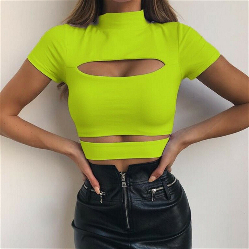 Green Black Gothic Chest Hollow Out Crop   Top   Solid Sexy Women Slim   Tank     Tops   Tee Shirt Female Casual Sexy Camis