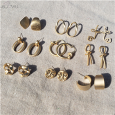 AOMU-2019-New-Korean-Simple-Geometric-Scrub-Round-knot-Face-Matte-Metal-Gold-Stud-Earrings-Gifts