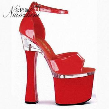 High-heeled Sandals 8 Inch Sexy Ladies Summer Platform Sandals Black Nightclub High Heels black leather look lace up ladies heeled sandals