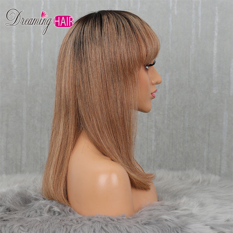 H374e6f5bf23b42f39a336cc8413f7e09X 613 Short Cut 13X4 Bob Lace Front Human Hair Wig with Bangs Honey Blonde Color Transparent Lace Front Wigs For White Woman