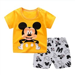 Комплекты одежды для малышей Летняя одежда для маленьких мальчиков от 0 до 24 месяцев хлопковые топы для маленьких мальчиков, футболка + штан...