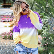 Casual Autumn Gradient Color Long Sleve Hoodies Women Loose Rainbow Shirts