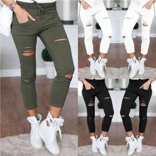 Women Ripped Pencil Pants Ladies Skinny Knee Hole Bandage Jeans Solid Color Elegent Pants High Waist Stretch Slim Pencil Trouser