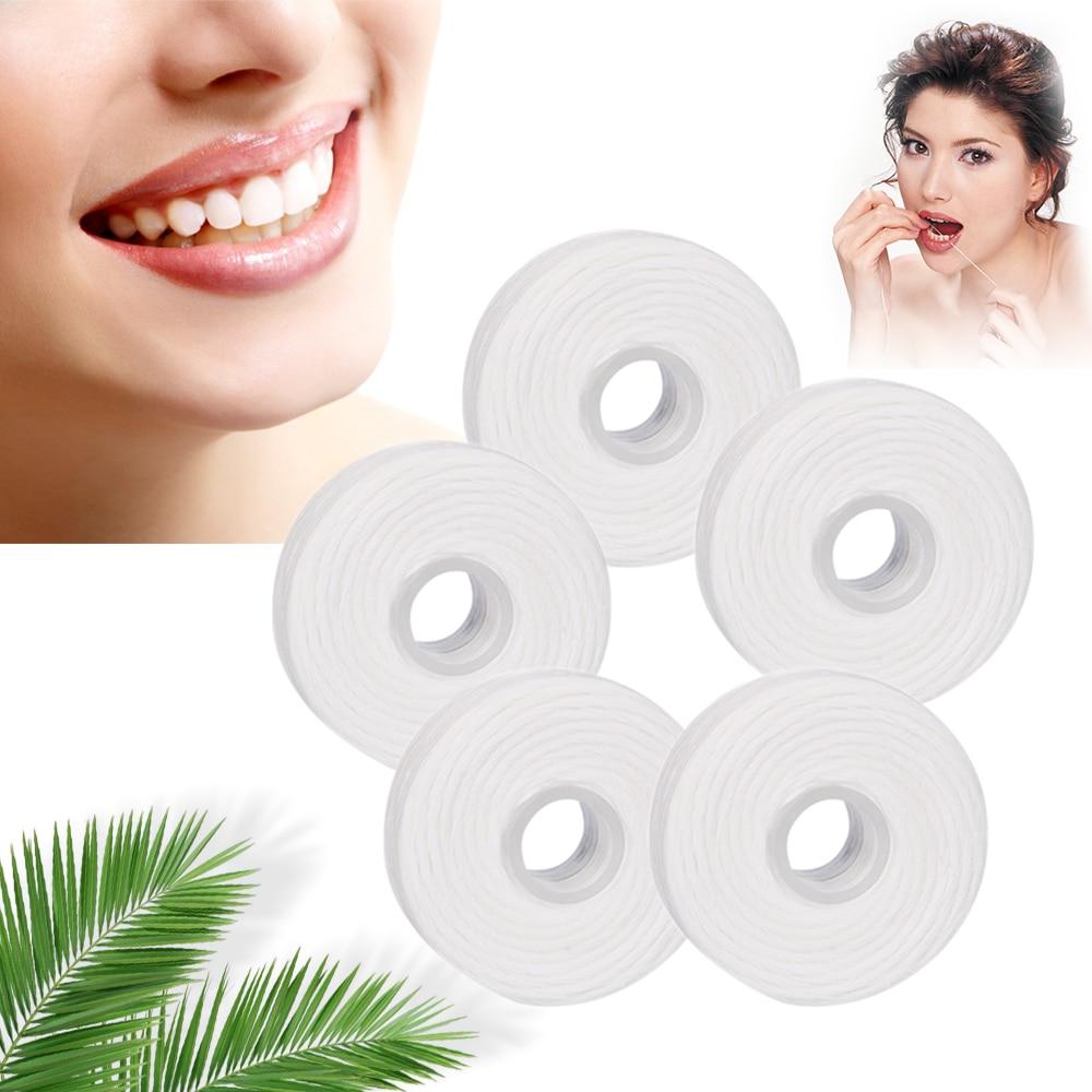 5 Rolls 50m Dental Flosser Oral Hygiene Teeth Cleaning Dental Floss Spool Wax Mint Toothpick Flosser Teeth Flosser Dental Care(China)