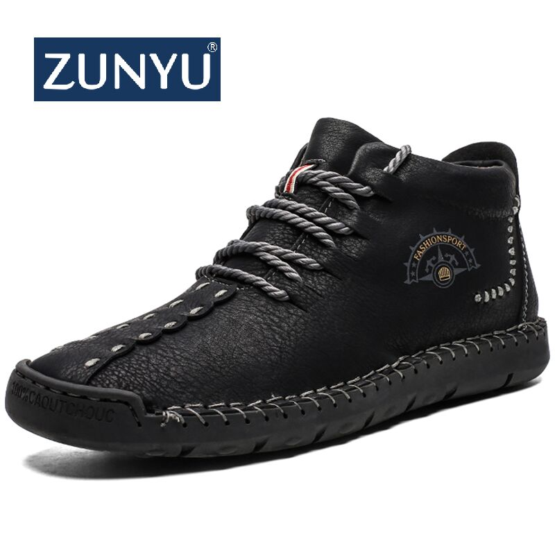 ZUNYU New Men's Boots Winter With Fur Keep Warm Snow Boots Men Shoes Footwear Fashion Male Winter Leather Ankle Boots Size 38-48