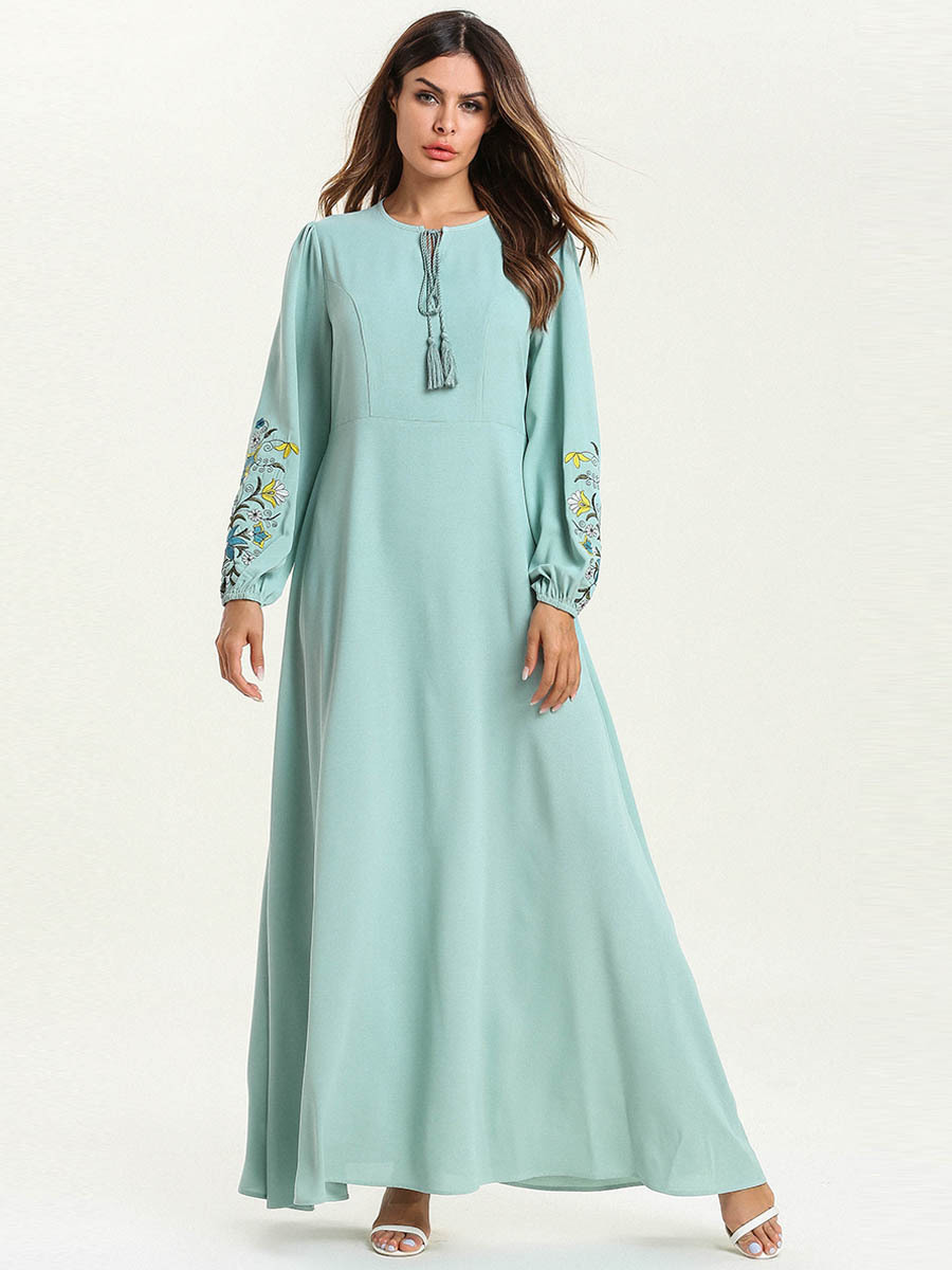 Abaya Dubai mode grande taille en vrac couleur unie broderie dentelle à manches longues Musulmane Femme robe - 4