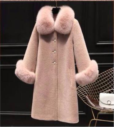 Autumn Luxury fake Fox Fur Collar Women Jacket Real Wool Fur Coats Long Warm Sheep Shearling Winter Coat Jacket