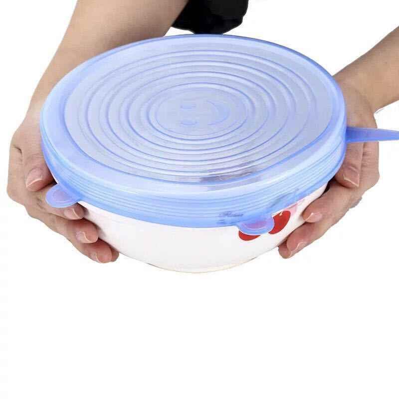 Azul 6pcs Tampas de Cozinha Panela de Silicone Universal Tampa de Sucção-tigela Tampas Estiramento Pequeno Grande Pan Cozinhar Peças Derrame tampa rolha