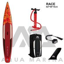 Nowy 427*69*15cm AQUA MARINA 2021 wyścig nadmuchiwane sup wstać wiosło pokładzie nadmuchiwane surf deska surfingowa szybka prędkość wyścigu woda sport