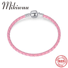 High Quality 925 Sterling Silver Beads Bracelet Pink Personality Leather Woven Leather Rope Bracelet For Women Jewelry Gift(China)