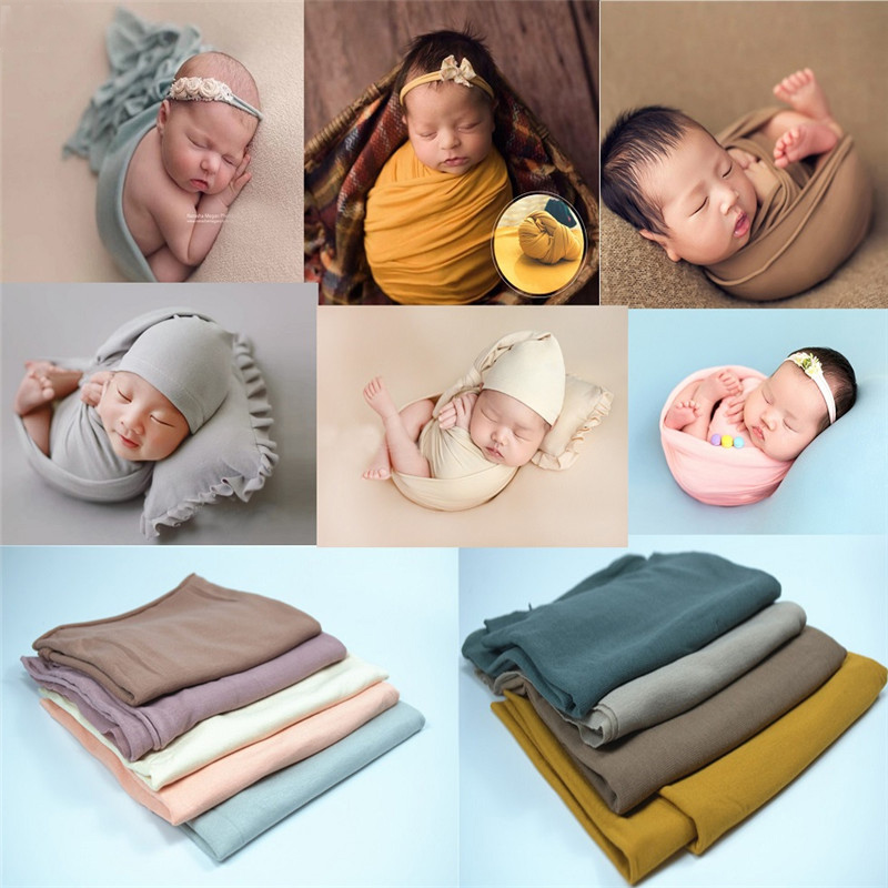 Blanket Baby Backdrop Swaddling Wraps Photography-Props Newborn Stretchable Cotton