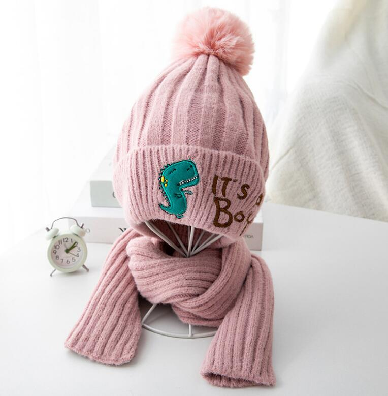 Kid Winter Knit Hat And Scarf Child Warm Letter Hat 2 Piece Set 2019 Baby Boy Girls Ear Protection Pom Pom Cap With Scarves 2-8T