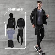 5 шт/компл мужской спортивный костюм для фитнеса Быстросохнущий