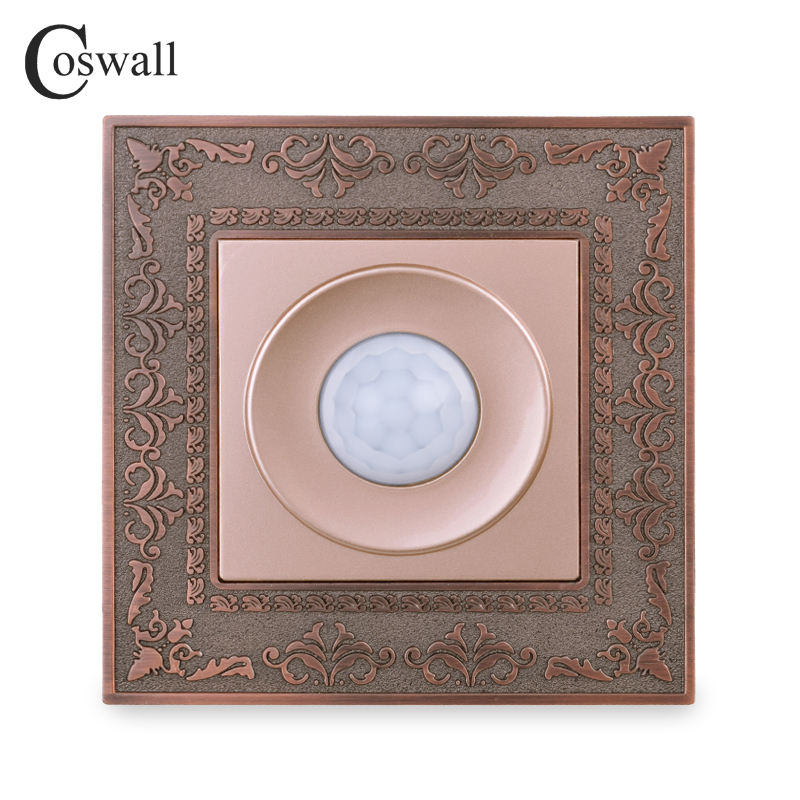 Coswall Zinc Alloy Vintage Panel Human Body Infrared Motion Sensor Wall Switch Time Delay Light Switch Gold Color 16A