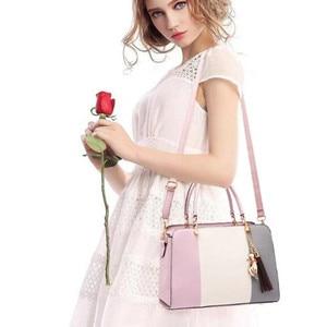 Image 5 - Trendy Patchwork Farbe Schulter Tasche für Frauen Mittleren Totes Geldbörse Büro Dame Umhängetaschen gabe quaste ornament Handtaschen