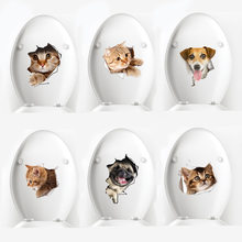 Kawaii Dier Muurstickers Home Decor Creative Leuke Kat Hond Stickers 3D Muurdecoraties Voor Slaapkamer Wc Deksel Huis decoratie(China)