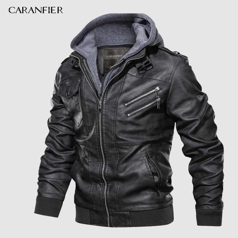 Мужские Байкерские Куртки из искусственной кожи CARANFIER, классические зимние Байкерские Куртки из искусственной кожи, европейский размер