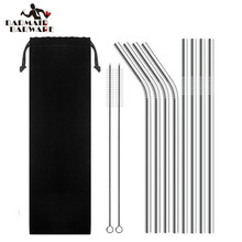 8pcs Straws + 2pcs Brushs Metal Drinking Straw Stainless Steel Reusable Straws For Beer Fruit Juice Drink 7 Colors(China)