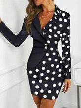 2019 Autumn Women Elegant OL Style Work Casual Pencil Mini Dress Office Lady Stylish Dot Print Colorblock Insert Dress