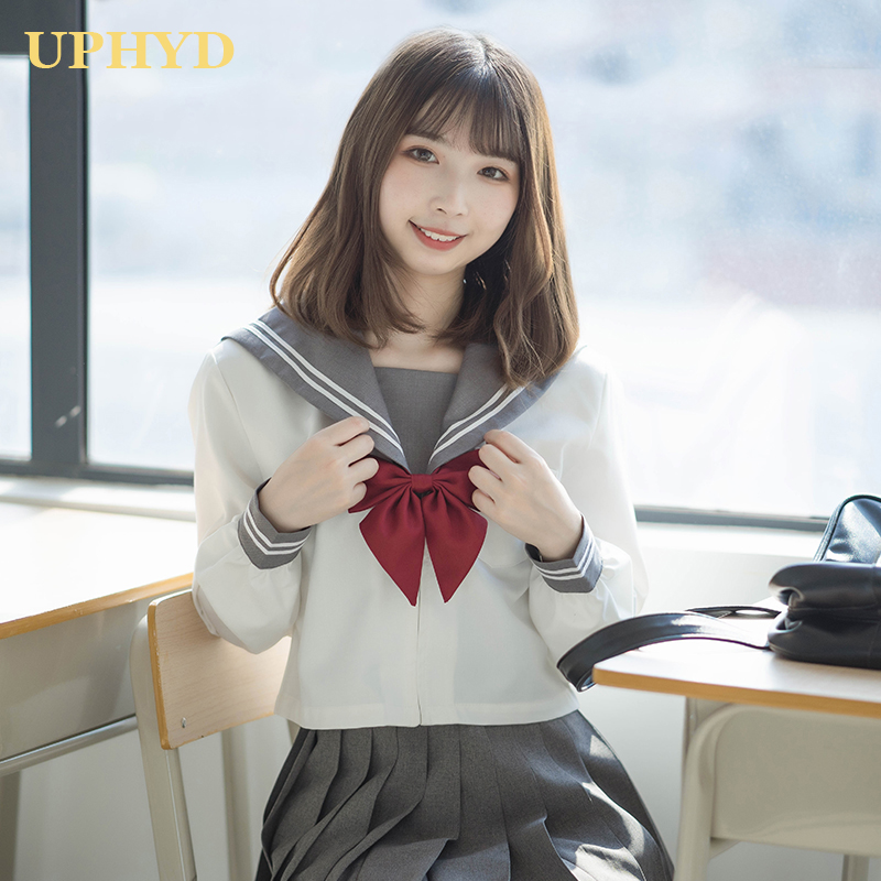 Gray Collar Long Sleeve JK School Uniform Set For Girls White Shirt And Pleated Skirt Suits Student Cosplay Uniforms