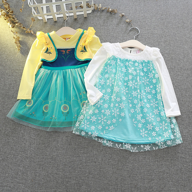 Disney Kids Dresses for Girls Costume Princess Dress Christmas Party Childrens Clothing Embroidered Lace Dancing Elegant