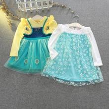 Robes princesse en dentelle brodée pour filles Disney, robe de princesse de Costume pour fête de noël, vêtements pour enfants en danse élégante