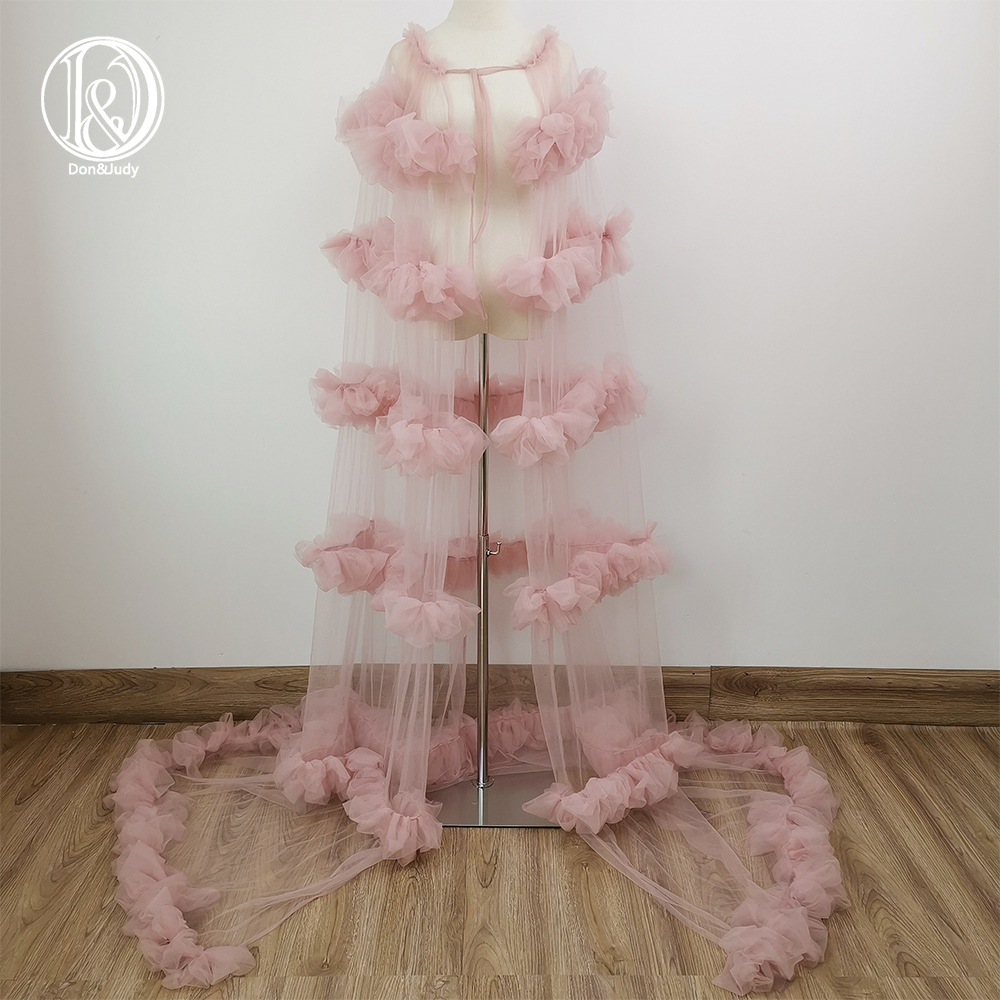 Don&Judy Tulle Vogue Cape Gown Maternity Dress For Photo Shoot Maternity Cloak Photography Party Prom Dresses Accessories2021