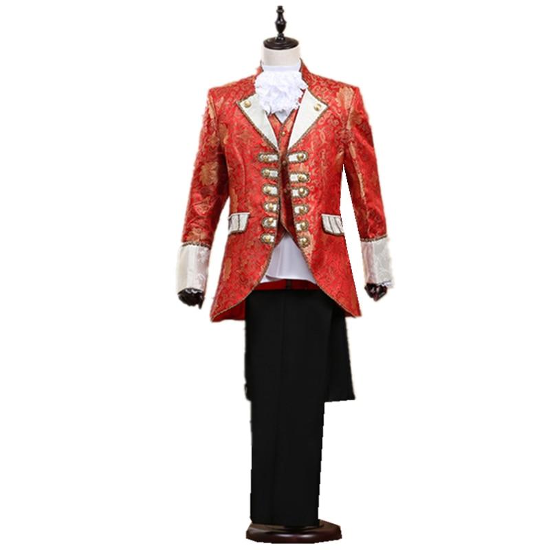 Three-colour Fashion Men's Court Prince Suit Set Vintage Embroidered Slim Suit Prom Party Dance Star Wind Tuxedo (coat + Pant)
