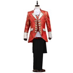Three-colour Fashion Mens Court Prince Suit Set Vintage Embroidered Slim Suit Prom Party Dance Star Wind Tuxedo (coat + Pant)