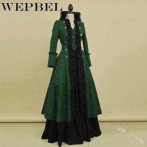 WEPBEL женское повседневное винтажное платье среднего века на пуговицах, модные новые длинные женские платья макси с длинными рукавами и обор...