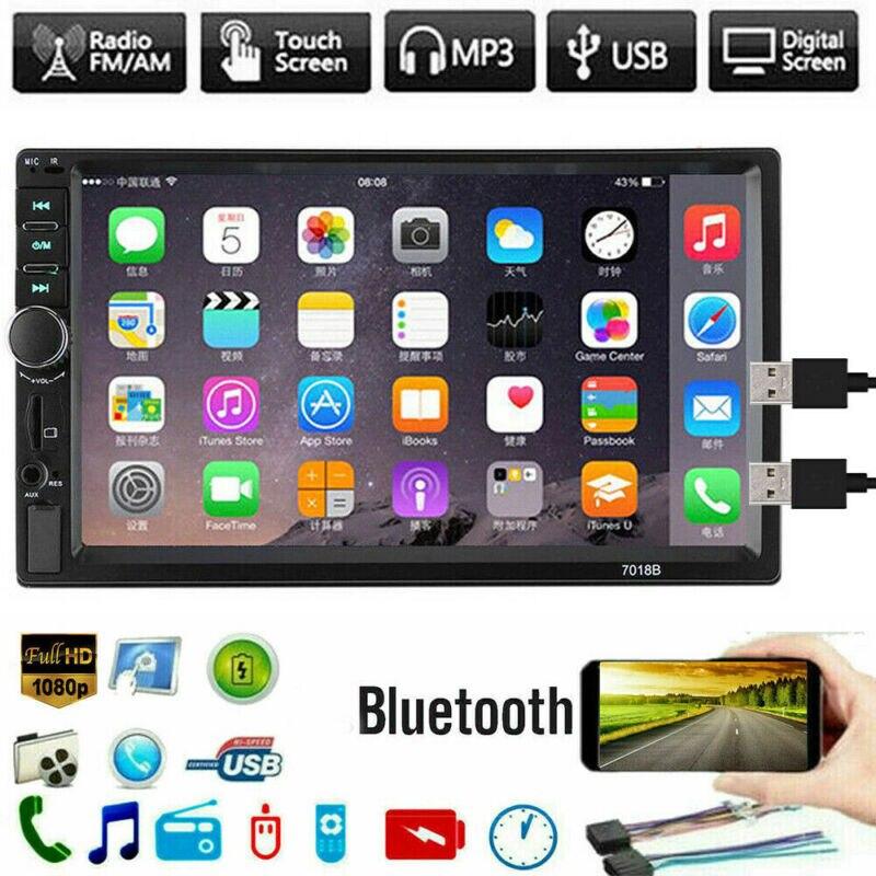Estéreo do Carro Tela de Toque Duplo Unidade Principal Bluetooth Mp5 Player bt Rádio fm – Usb Aux 7 2 Din