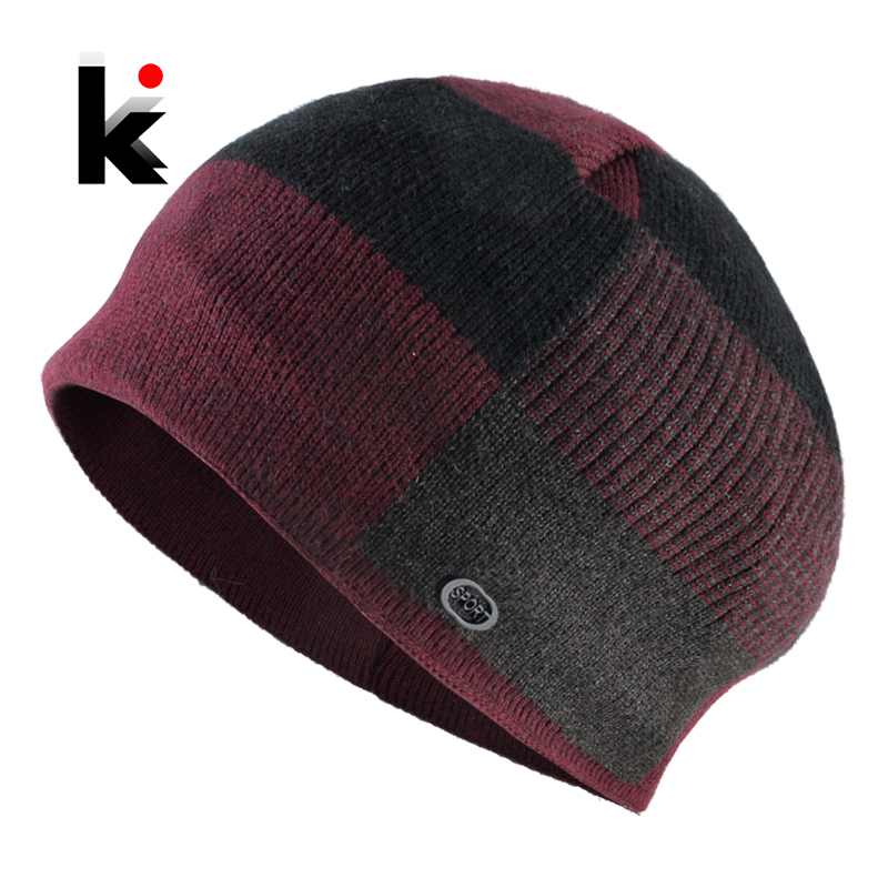 Winter Warm   Skullies     Beanies   Men Thick Knitted Plaid   Beanie   Hats Male Outdoor Sport Casual Bonnet Cap Double Layer Knitting Hat