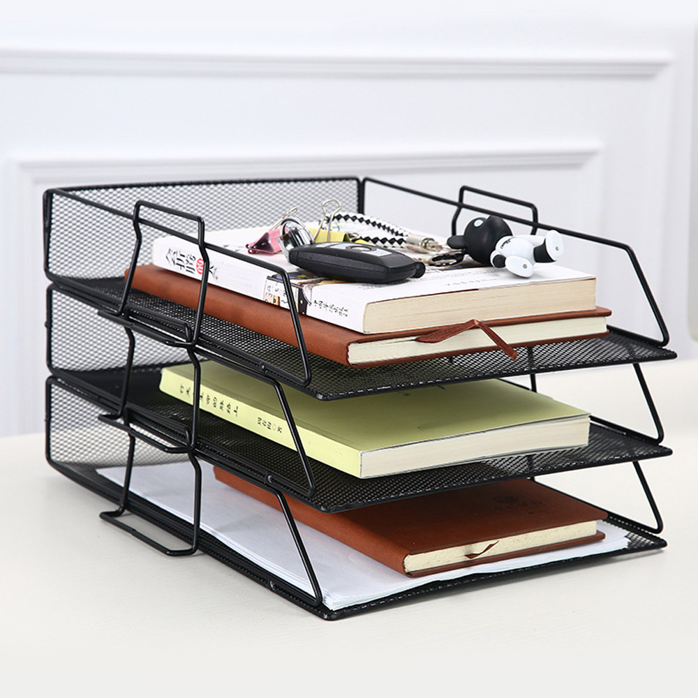 Stackable Paper Tray Metal Mesh Desktop File Organizer Storage Basket Holder For Home Office Document File Letter Book Magazine