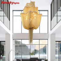 Modern golden luxury chandeliers linting for living room chandelier with silver fringe For bedroom Aluminum light for kitchen