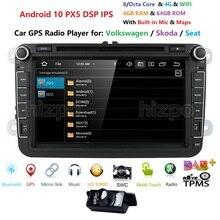 """IPS 8 """"شاشة تعمل باللمس أندرويد 10 سيارة مشغل وسائط متعددة لالعلبة جولف باسات جيتا تيجوان سكودا اوكتافيا كومبي رائع اليتي البحر"""