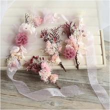 bride's wedding headdress fairy beauty flower headbands hairpins sets sweet pink flower headdress wedding hair ornament beauty inflatable flower chain for wedding