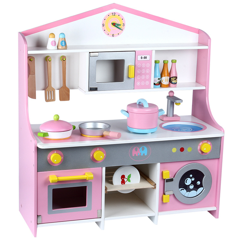 Children's Kitchen Play House Toy Simulation Wooden Microwave Oven Washing Machine Tableware Toys Assembly Set Girl Gift