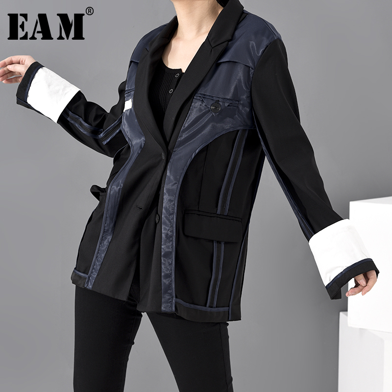 [EAM]  Women Black Contrast Color Split Joint Blazer New Lapel Long Sleeve Loose Fit  Jacket Fashion Spring Autumn 2020 JU17901
