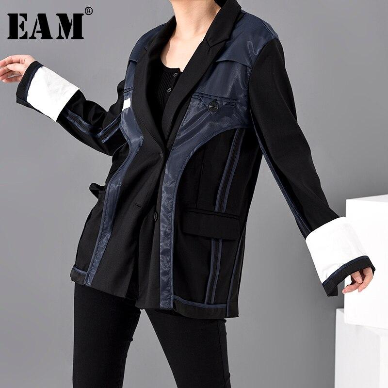 [EAM]  Women Black Contrast Color Split Joint Blazer New Lapel Long Sleeve Loose Fit  Jacket Fashion Spring Autumn 2020 JU17901