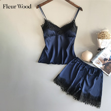 Fleur Wood Women Sleepwear Set Lace Trim Satin Cami Sling Top and Shorts Set 2020 Sexy Sleeevele Lingerie Set Solid Summer Satin ruffle trim lace up front crop cami and shorts set