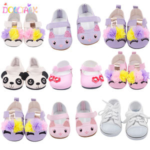 7cm Cute 15 Styles Leather Cartoon Canvas Doll Shoes For 43cm New Bron Doll Flower Shoes FIt 18 Inches American 1/3 BJD Doll Toy(China)