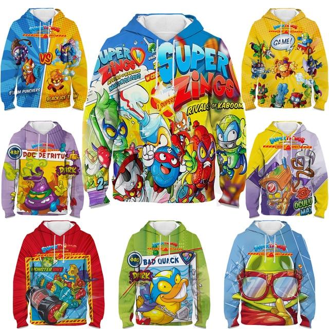 New Super Zings Series 6 Hoodies for Teens Girls Autumn Winter Kids 3D Cartoon Pullover Children Superzings Sweatshirt Boys Tops 1