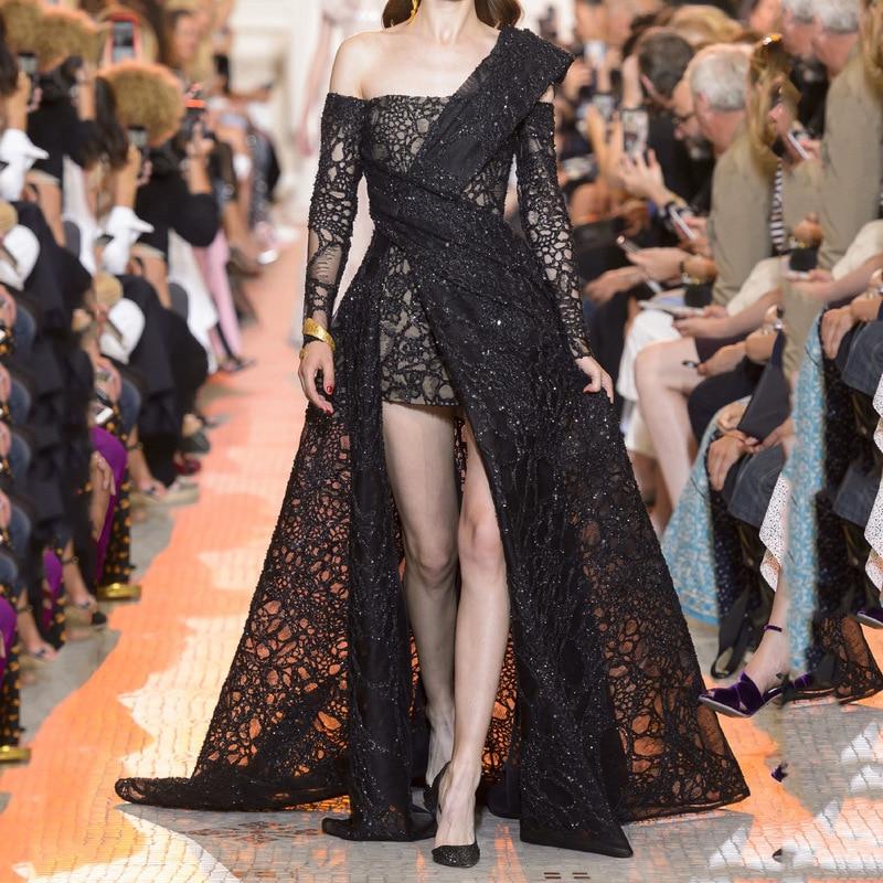 2020 the European and American fashion dress black lace dress elegant temperament red carpet dress long birthday party
