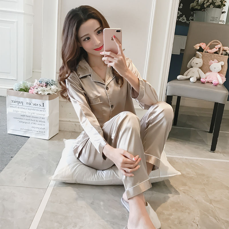 Spring And Autumn New Products Korean-style-Cardigan Model Silk Pajamas WOMEN'S Long Sleeve Tracksuit Leisure Suit